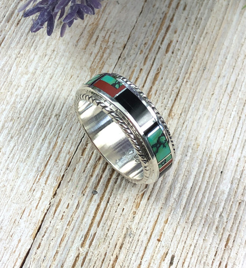 Coral Turquoise and Jet Inlay Band Ring
