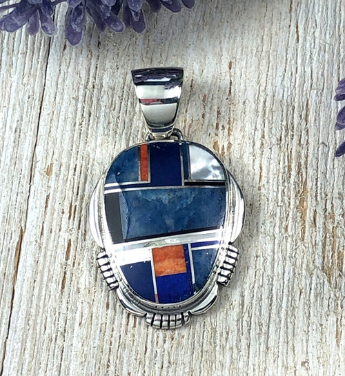 Lapis and Spiny Oyster Shell Inlay Pendant
