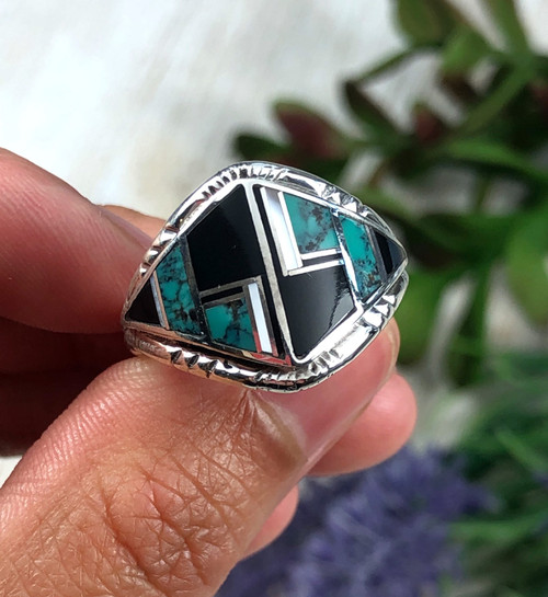 Inlay Band Ring with Turquoise and Jet