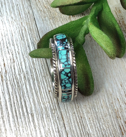 Hubei Turquoise Inlay Band Ring