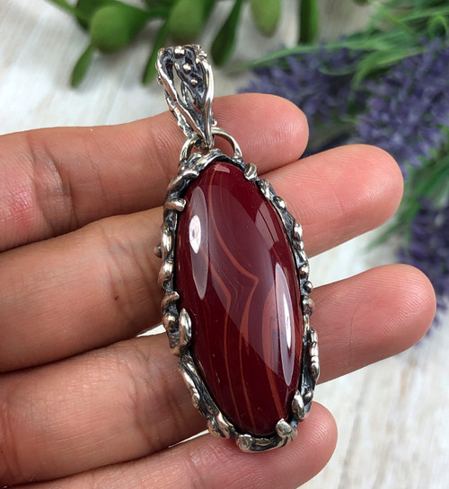 Deep Red Rosarita Lost Wax Pendant