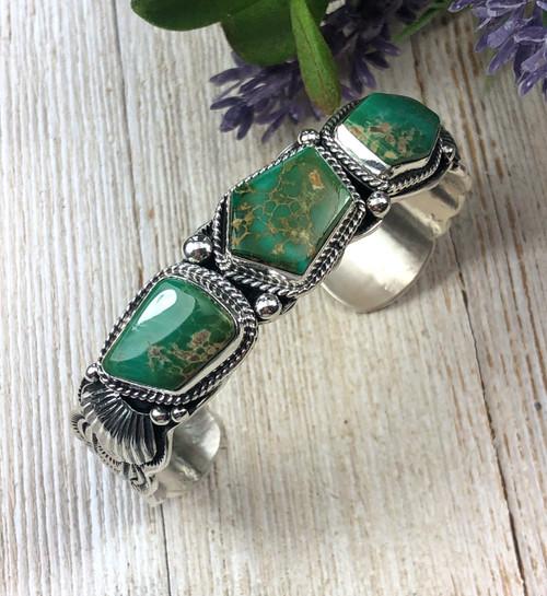 DARRELL CADMAN High grade Manassa Turquoise Row Bracelet