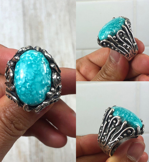 Men's White Water Turquoise Ring Size 10.5