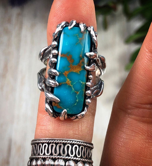 Turquoise Mountain Turquoise Ring Size 8.25