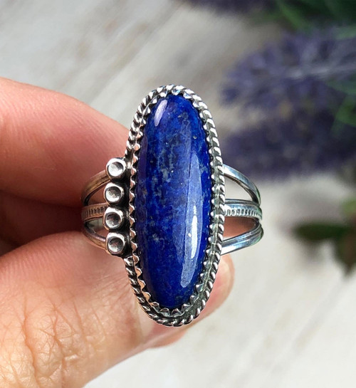 Lapis silver ring size 8