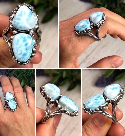 Sterling silver 2 stone Larimar ring