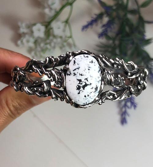 Fancy Sterling Silver and White Buffalo bracelet by Nattarika Hartman
