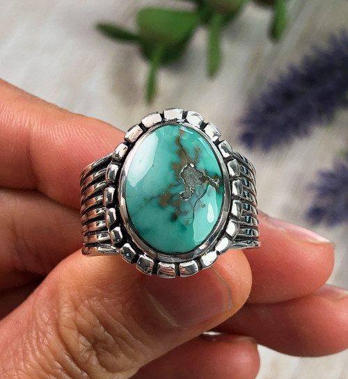 Natural Fox Turquoise Men's Ring Size 10