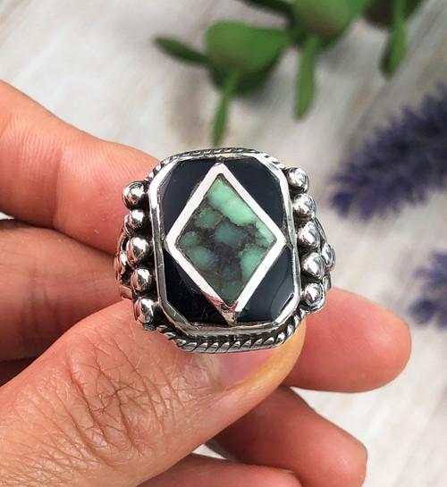 Damele Variscite and Black Jet Silver Ring