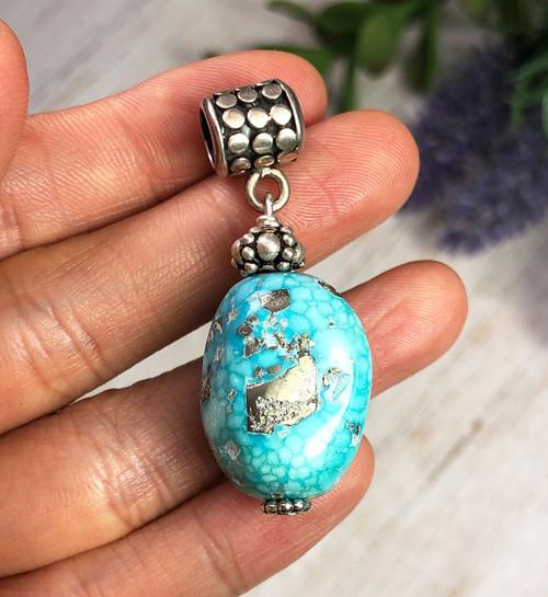 White Water Turquoise Bead Pendant