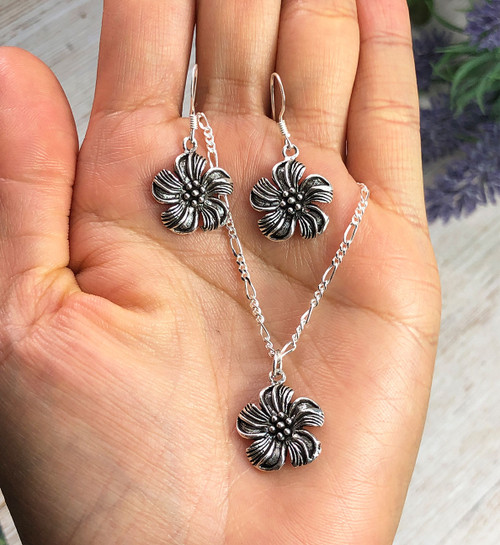 Sterling Silver Flower Earrings and Necklace Set