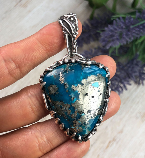 AAA Ithaca Peak Turquoise with Pyrite Silver Pendant