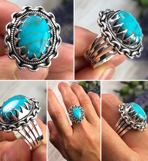 Stormy Mountain Turquoise Ring Size 6.5