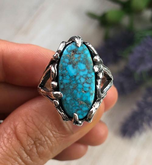 Natural Kingman Turquoise Ring Size 8.25