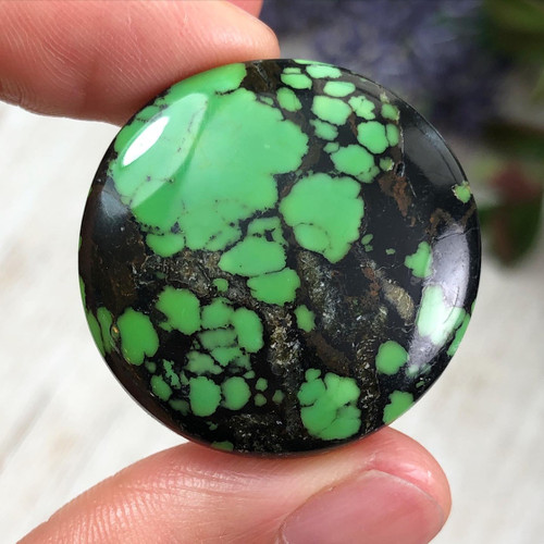 37.5 cts. Lime Green Hubei Turquoise Cabochon