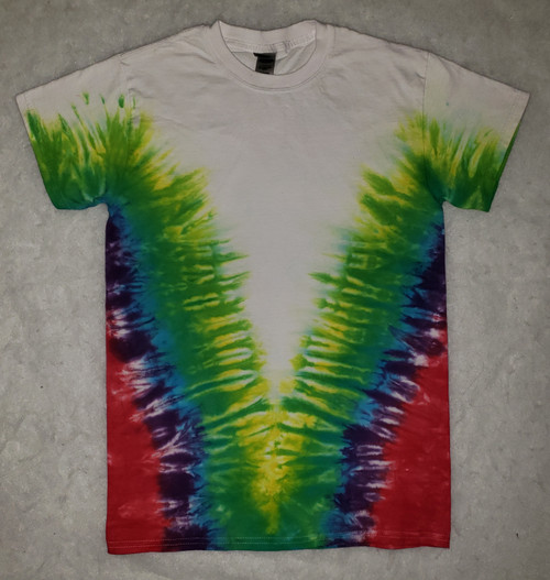 (New)  Rainbow V Tie Dye   (short and long sleeve options)