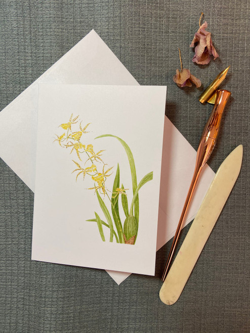 Yellow Brassidium Orchid Card