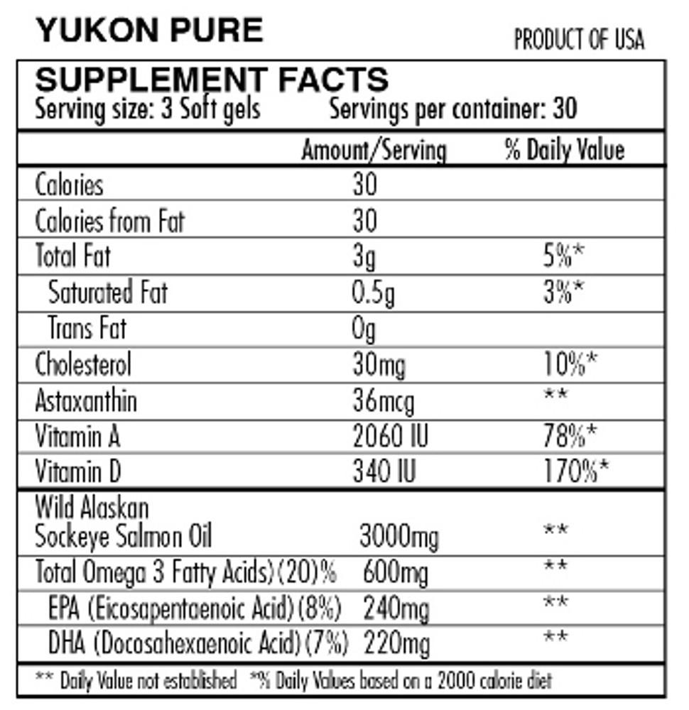 *Yukon Pure Wild Alaskan Sockeye Salmon Oil: 90 Soft Gels