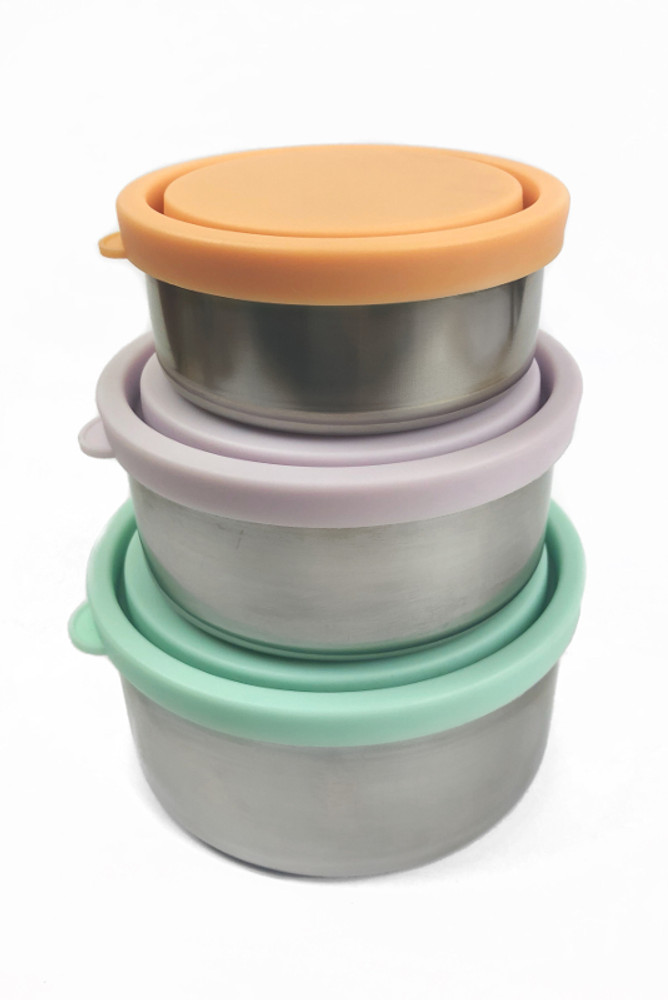 Stainless Steel Round Containers: Set of three