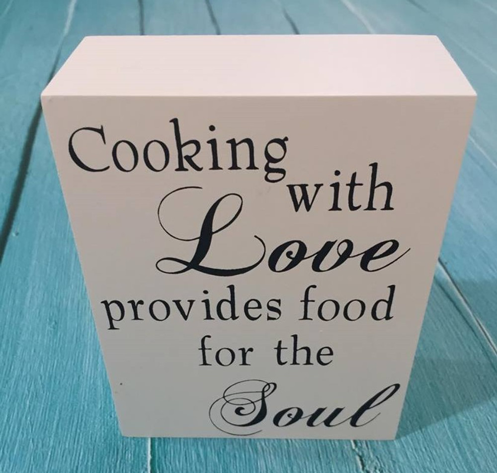Inspirational Shelf Plaque: Cooking with love
