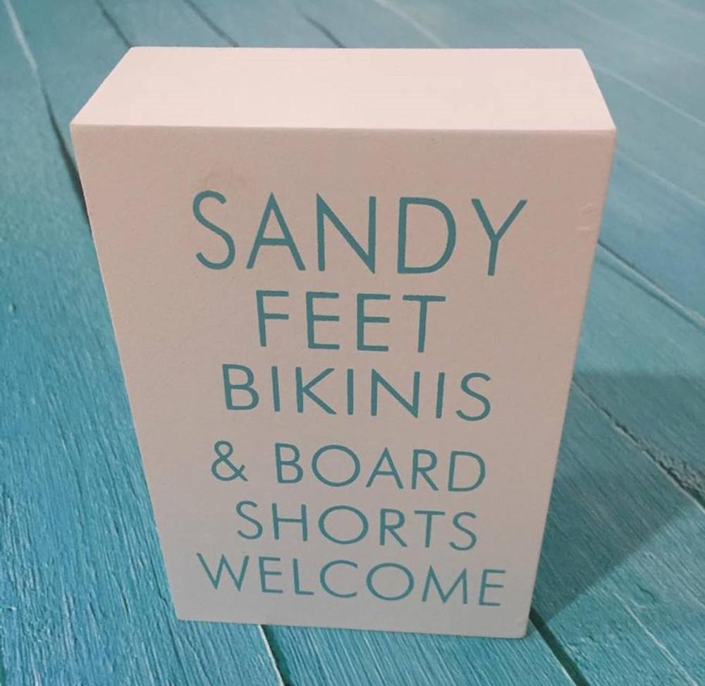 Inspirational Shelf Plaque: Sandy feet