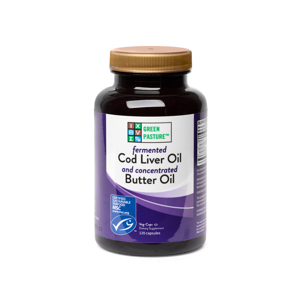 Blue Ice Royal Blend: Fermented Cod Liver Oil Concentrated Butter Oil (120 CAPSULES)