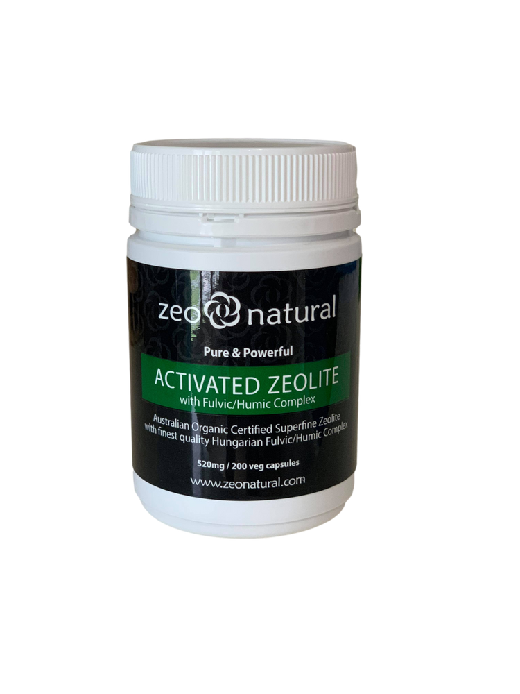 Certified Organic Activated ZEOLITE with Fulvic/Humic Comlex: 520mg / 200 Veg Caps