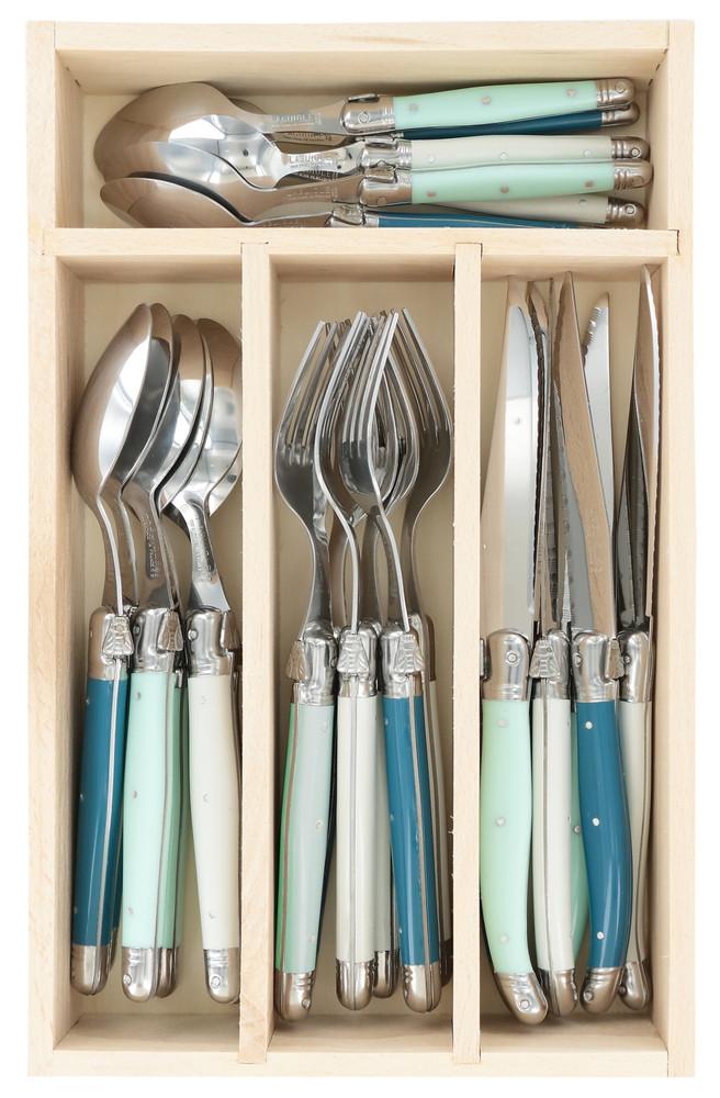 Debutant Cutlery Set: Mint, Teal & White: Set of 6 (24 pcs)