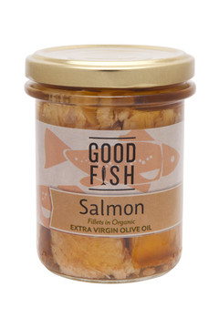 ALASKAN SALMON FILLETS in Organic Extra Virgin Olive Oil 195g Glass Jar