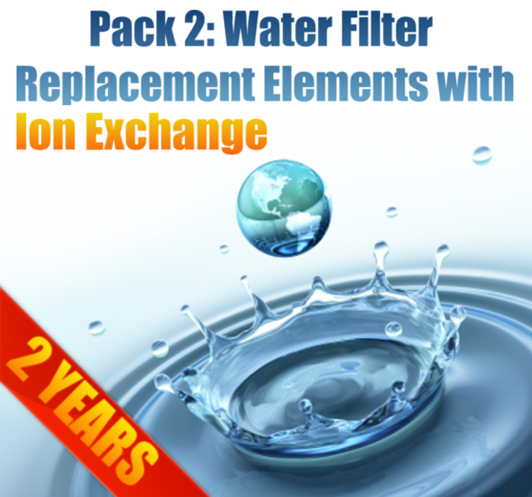 Pack 2: MAXI Filter Replacement Elements with Ion Exchange Element