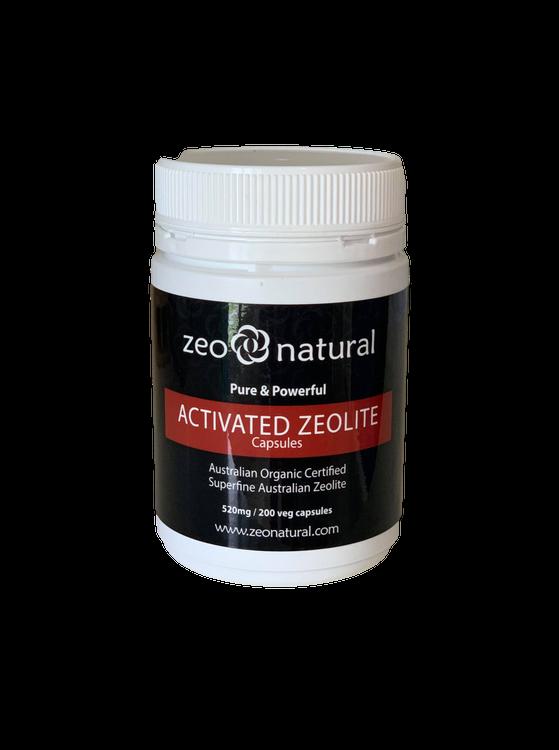 Certified Organic Activated ZEOLITE CAPSULES 520mg / 200 Veg Caps