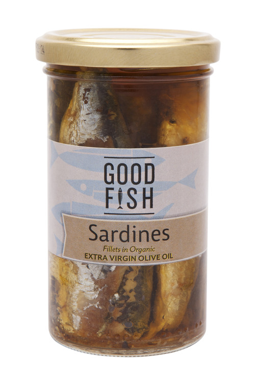 SARDINES in Organic Extra Virgin Olive Oil 260g Glass Jar