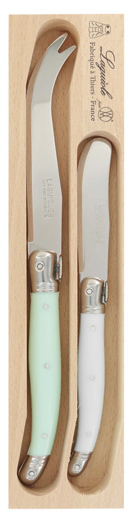 Debutant 2-Piece Cheese Knife Set: Mint & White