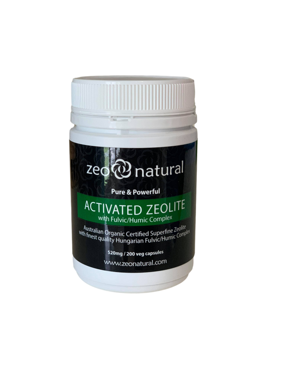 Certified Organic Activated ZEOLITE with Fulvic/Humic Complex: 520mg / 200 Veg Caps