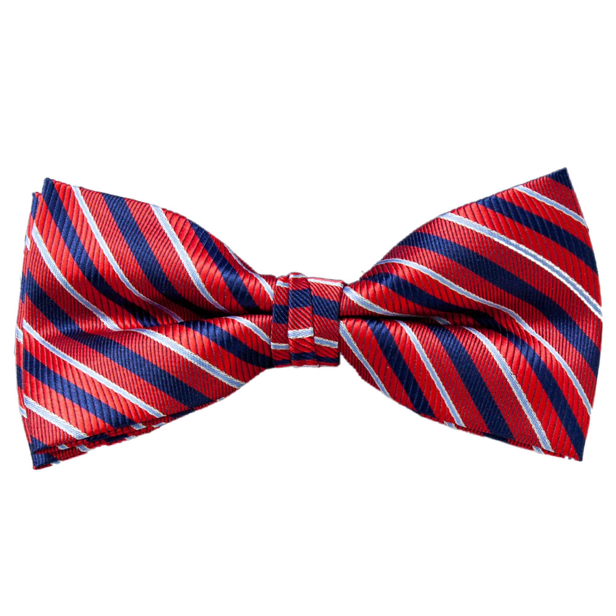 Mens Red /& White Stripes Bow Tie