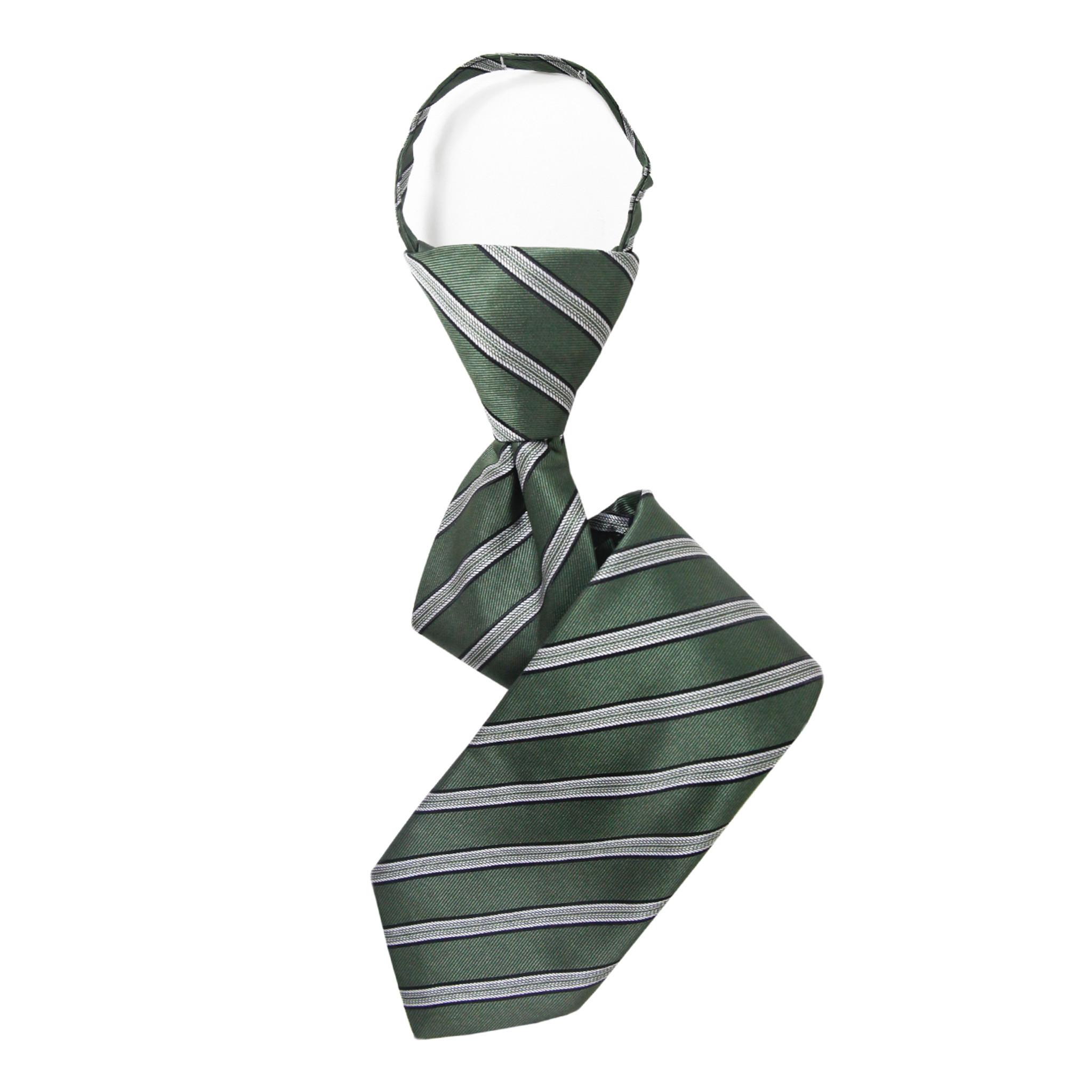 New Kids Boys Zipper up Adjustable Pre-tied Necktie blue white Stripes formal