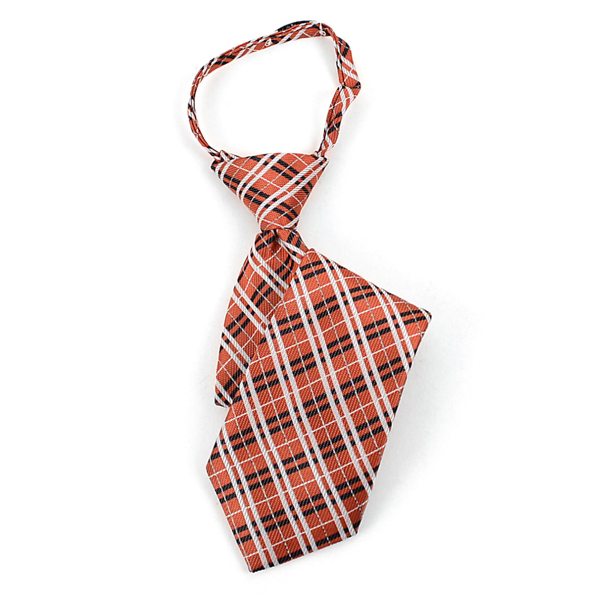 Orange /& Black Plaid Pattern Boys Zipper Necktie MPWZ14-16
