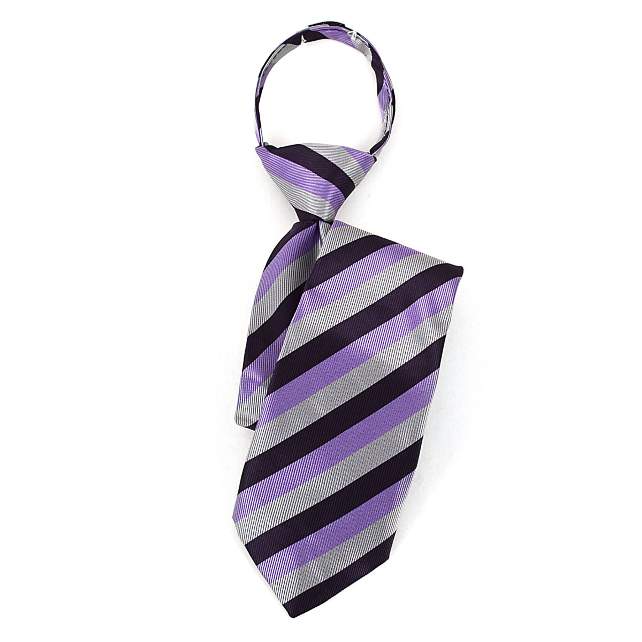 New Kids Boys Zipper up Adjustable Pre-tied Necktie Silver lavender Stripes