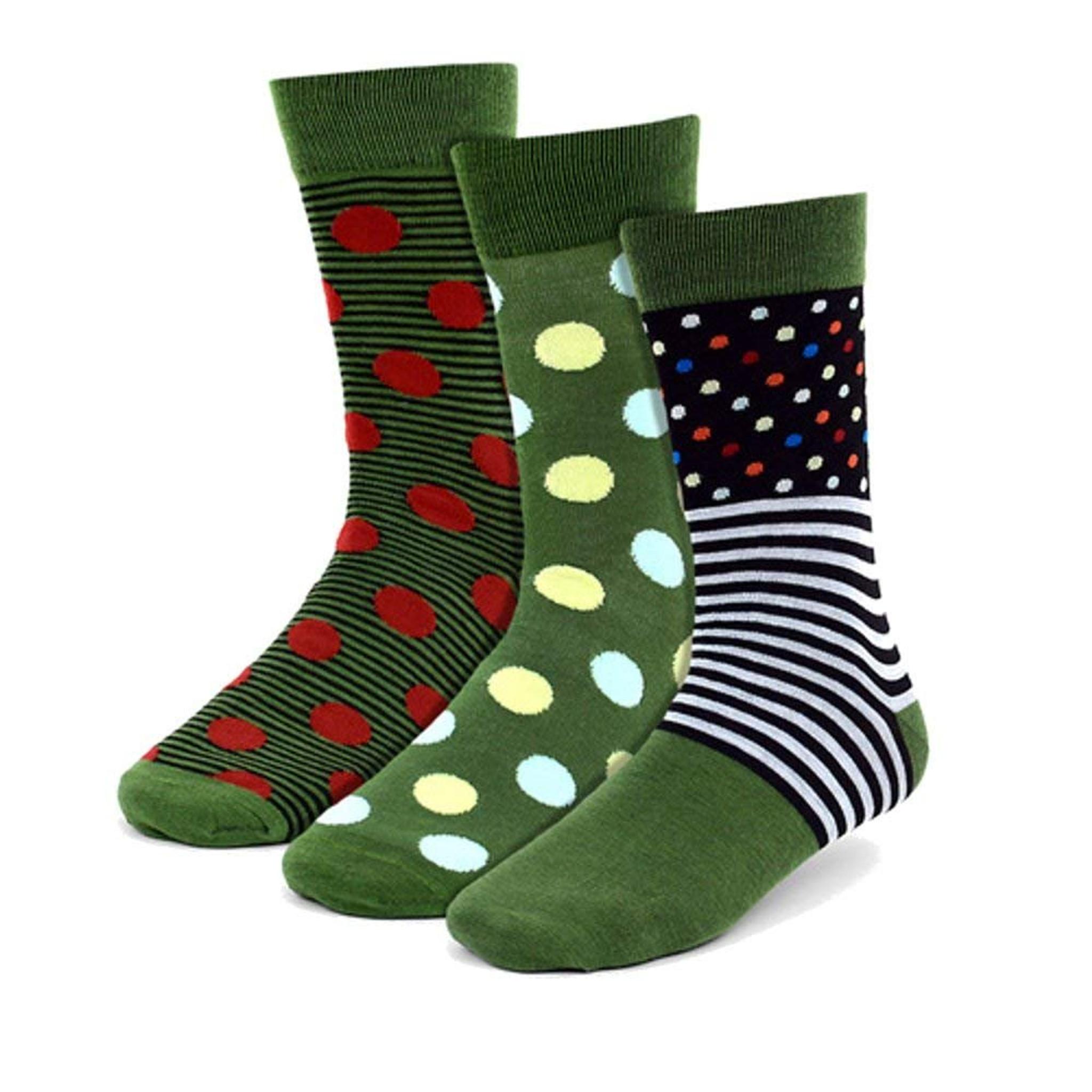 473f19160c3da Men's Premium Green 3 Pairs of Fun Polka Dots & Stripes Novelty Crew Dress  Socks - BOXED GIFTS