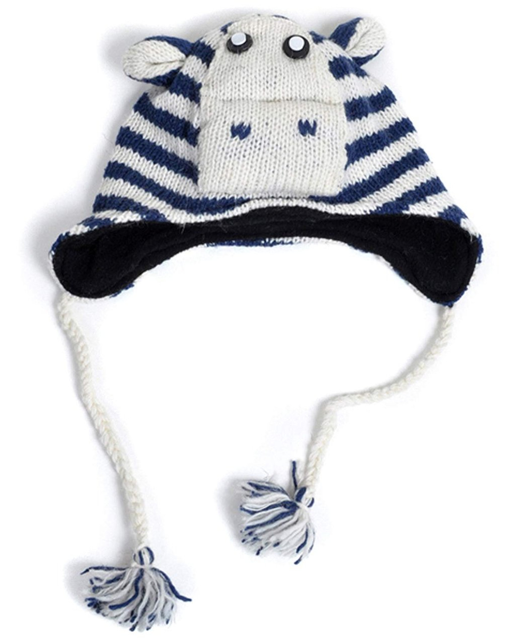 5d49a9317 100% Wool 'Hat-imals' Plush Knit Winter Hats (Wool Collection) (AHW002  (Zebra))