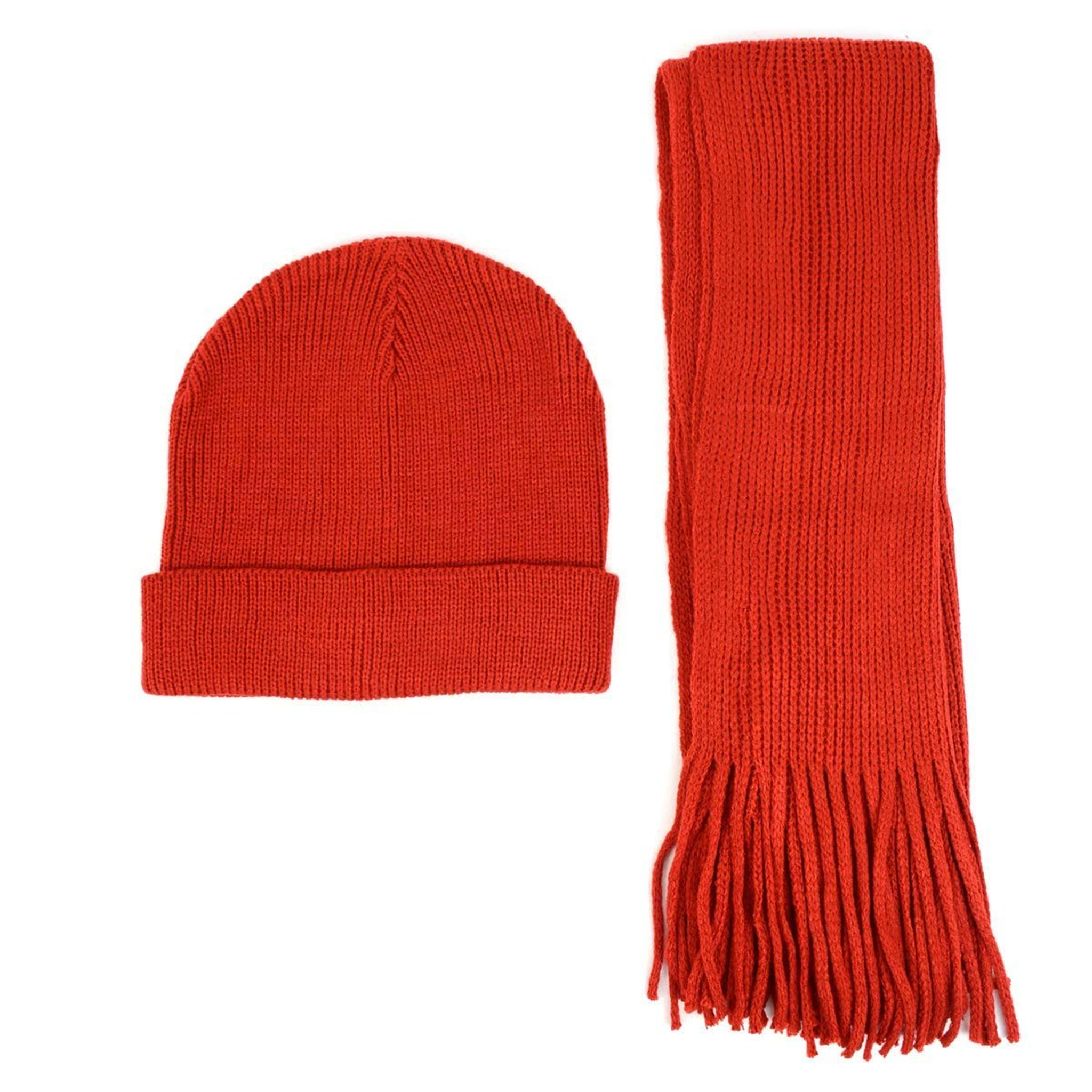 98521582c Men's Winter Knit Scarf and Beanie Hat Set Solid Red Fashionable & Warm