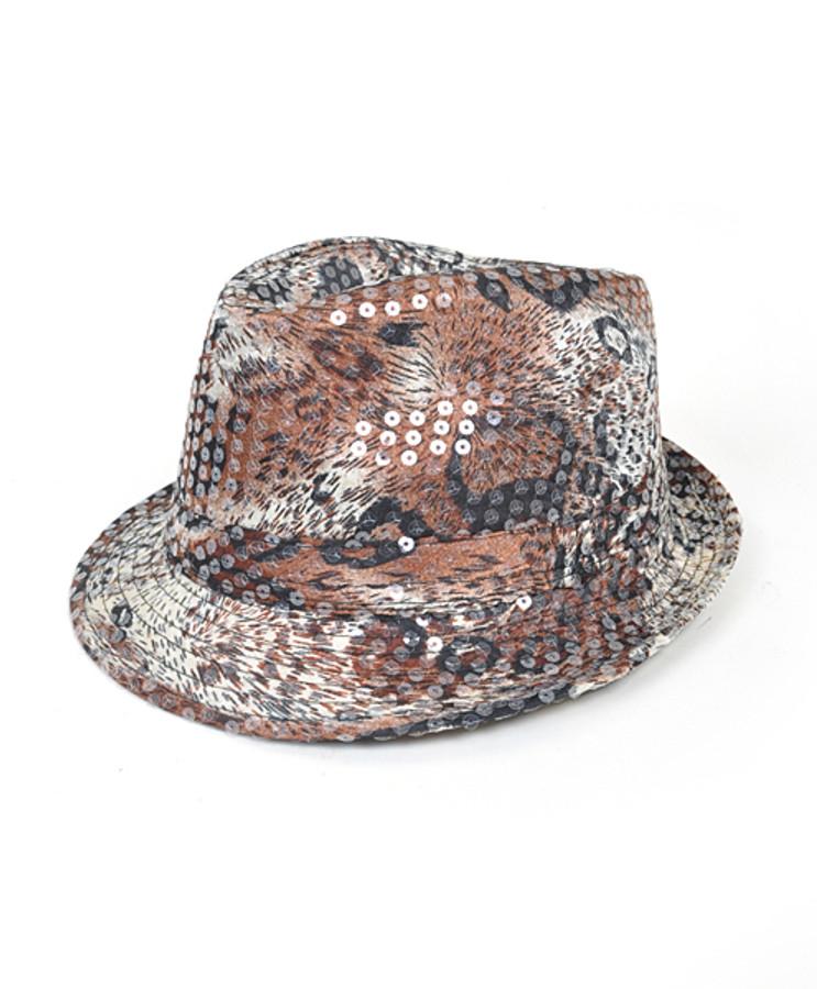 6pc Sequin Fedora Hat H5625