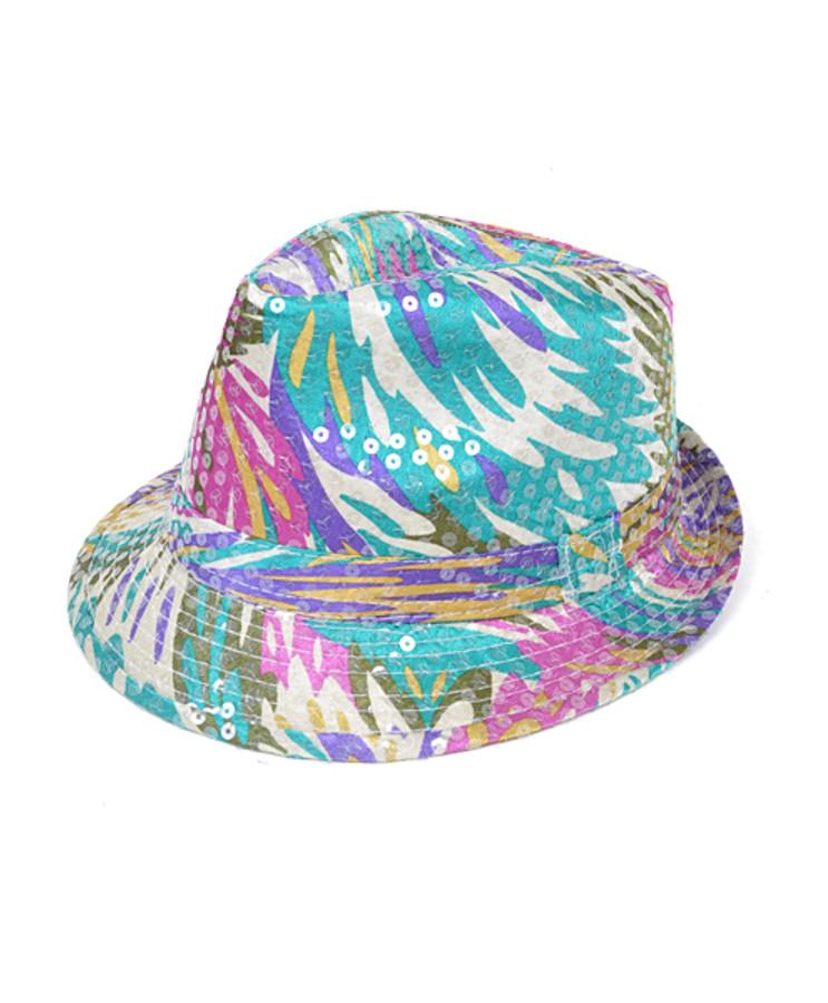 6pc Sequin Fedora Hat H5638