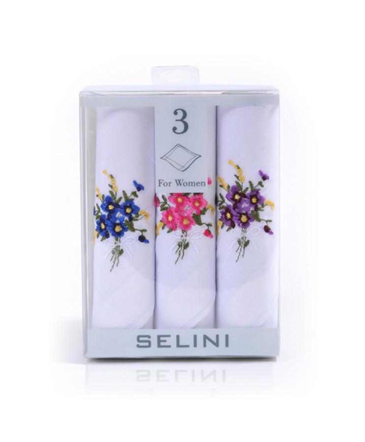 Ladies Embroidered Cotton Handkerchief 3pc Box Set WEH3601