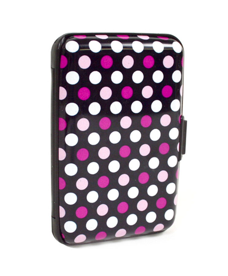 12pc Pack Card Guard Aluminum Compact Card Holder CASE023 (Pink Dots)