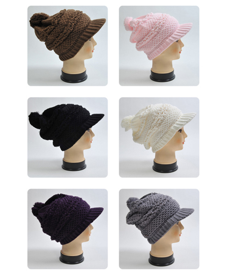 Solid-Color Knit Acrylic 2-Piece Cap and Scarf Set WNTSET28