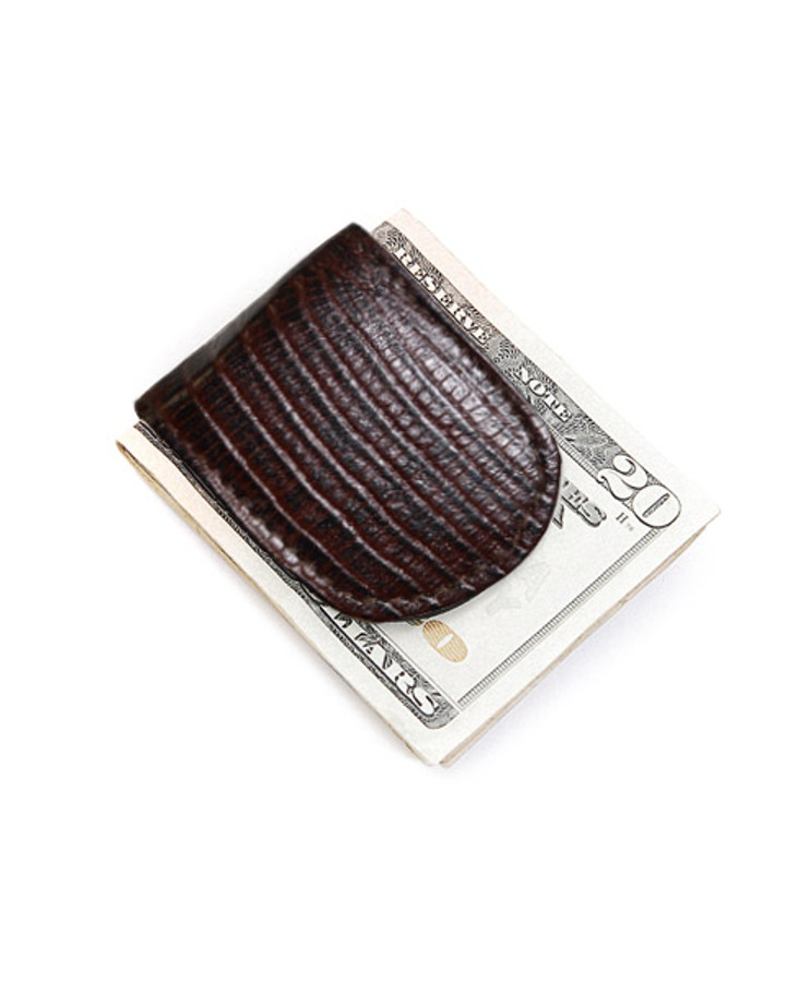 Leather Money Clip In Croco Print CCGMC44BR
