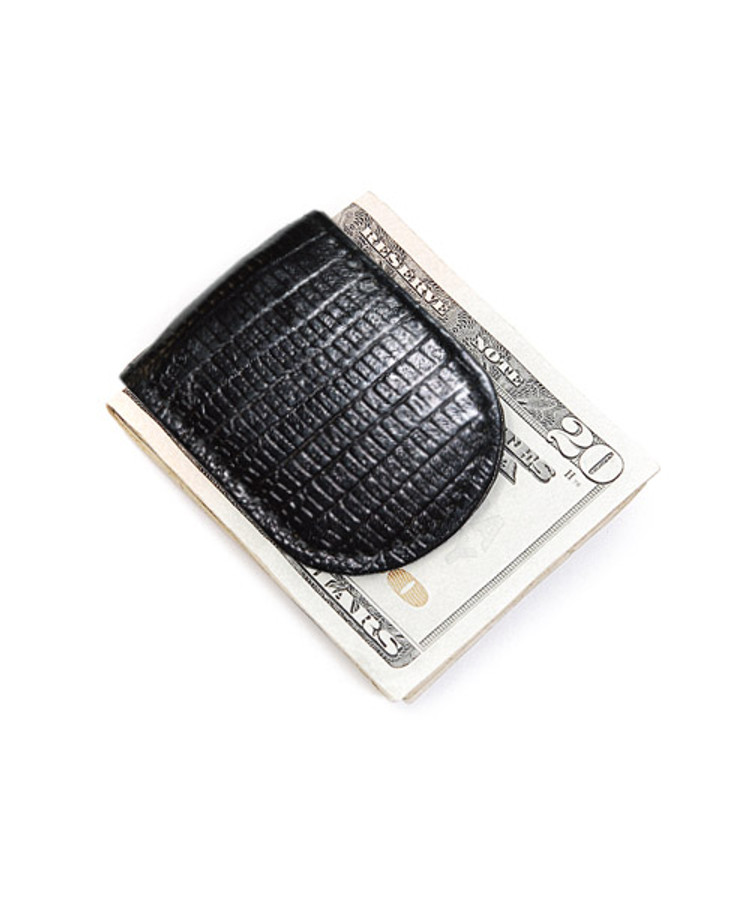Leather Money Clip In Croco Print CCGMC44BK