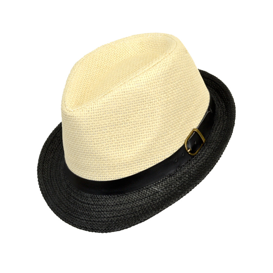 6pc Boy's Spring/Summer Cream Straw Fedora Hats with Black Band