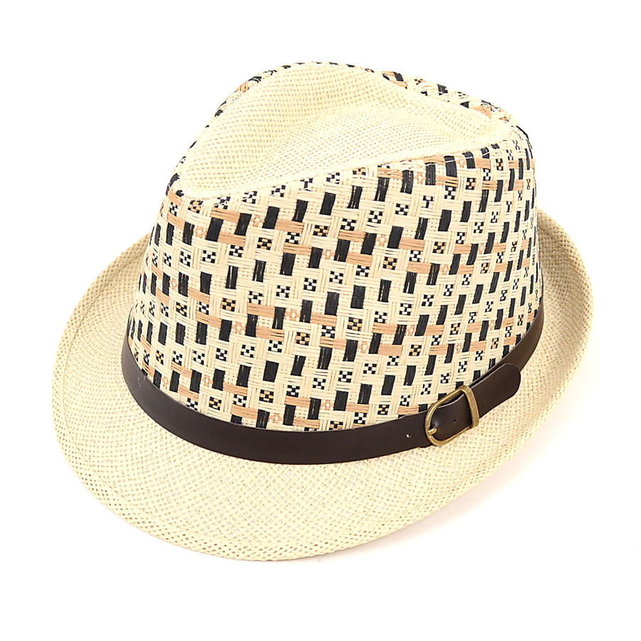Spring/Summer Woven Fedora Hat with Leather Trim